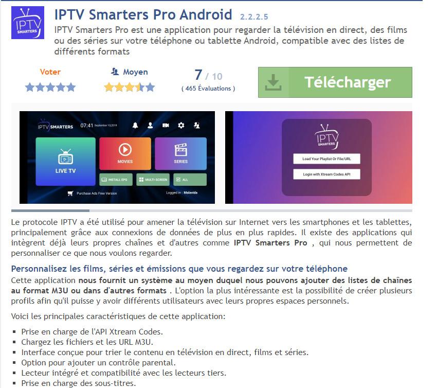 IPTV SMARTERS N'EST PLUS TELECHARGEABLE SUR LA PLAYSTORE MAIS TELECHARGEABLE EN APK