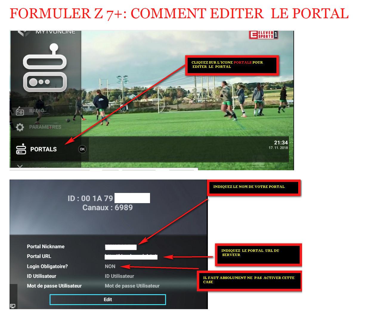 FORMULER Z7+ :COMMENT EDITER  LE PORTAL    iptv abonnement premium
